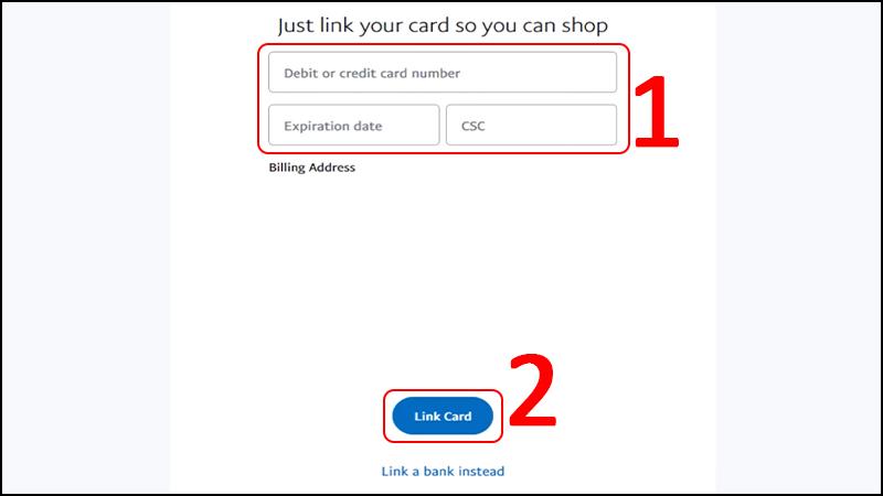 Nhập thông tin thẻ ngân hàng của bạn (số thẻ, thời gian hết hạn, mã an toàn gồm 3 số phía sau thẻ) > Chọn Link Card.