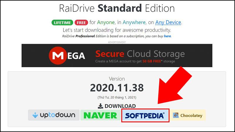 Bước 2: Tại trang tiếp theo, chọn SOFTPEDIA để download