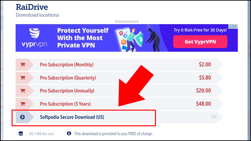 Bước 4: Một cửa sổ mới hiện ra, click chọn Softpedia Secure Download để tải xuống.