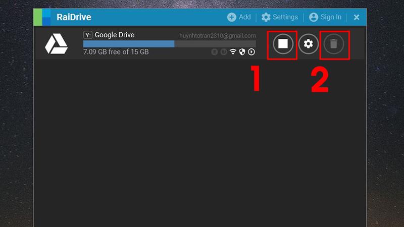 Cách xóa Google Drive khỏi RaiDrive