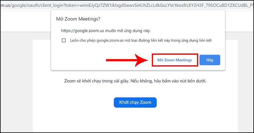 Chọn Mở Zoom Meetings để khởi chạy phần mềm Zoom