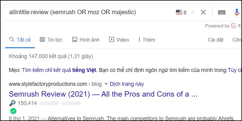 Đây là một tìm kiếm thú vị khác có thể được sử dụng để tìm các đánh giá của đối thủ cạnh tranh: