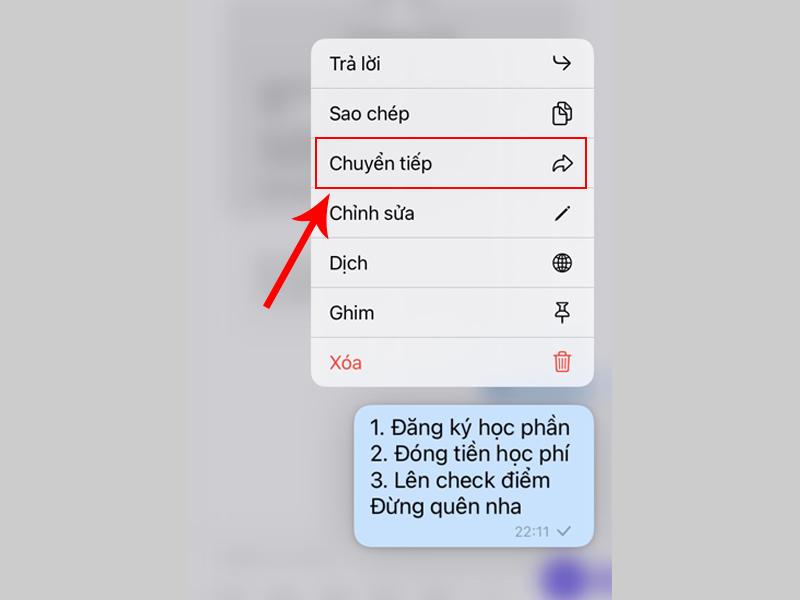 Chọn tin nhắn cần gửi vào ghi chú bằng cách chuyển tiếp