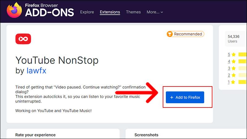 Thêm tiện ích YouTube NonStop trên FireFox