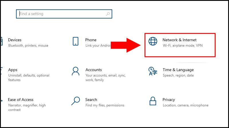 Chọn mục Network & Internet