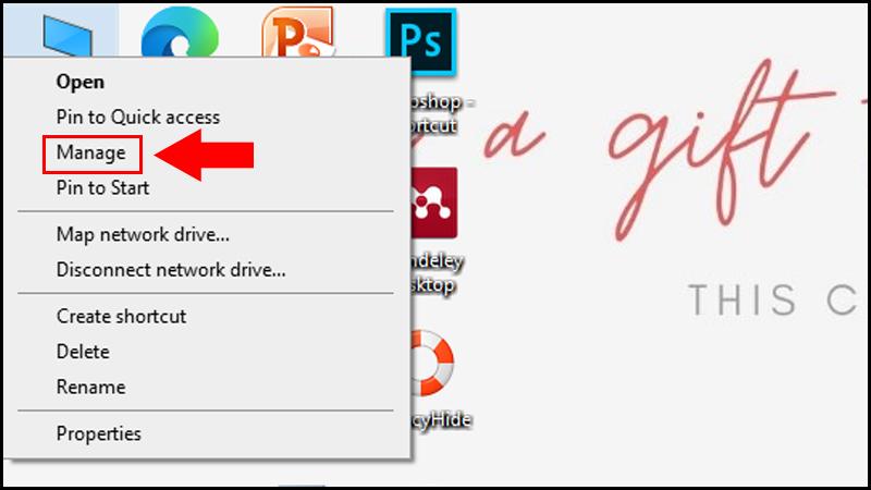 Chọn Manage tại This PC