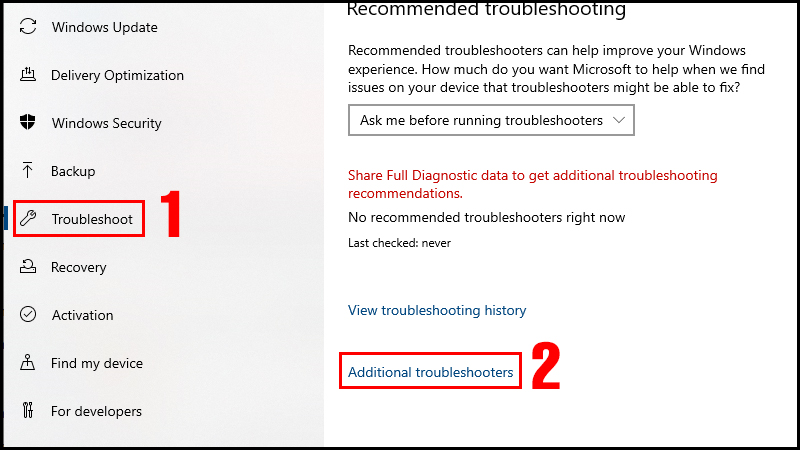 Chọn Additional troubleshooters trong mục Troubleshoot