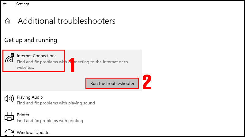 Chọn Run the troubleshooter trong mục Internet Connections