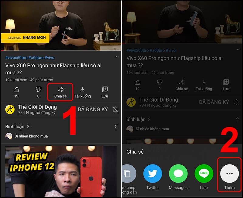 Làm trực tiếp trên ứng dụng YouTube