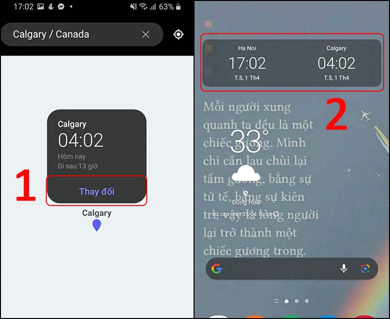 Hoàn tất cài đặt, điện thoại bạn sẽ hiển thị 2 múi giờ khác nhau