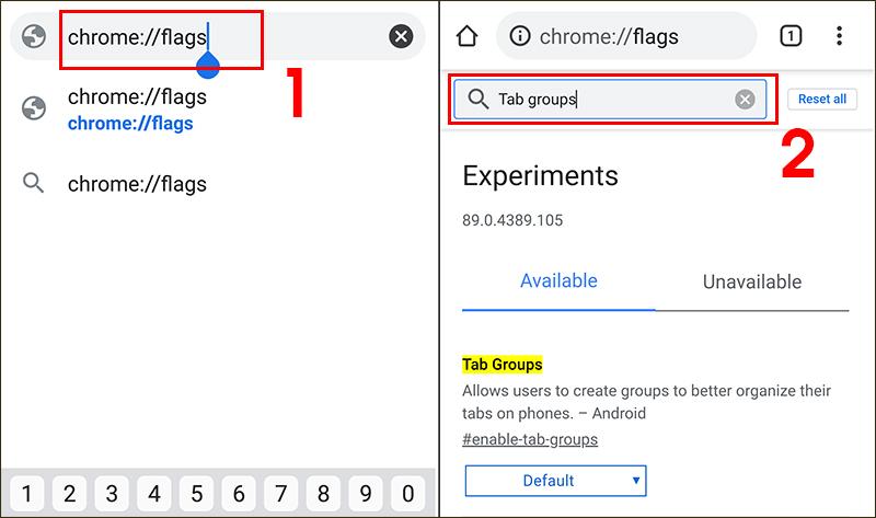 Tìm tính năng Tab Groups trong Chrome flags