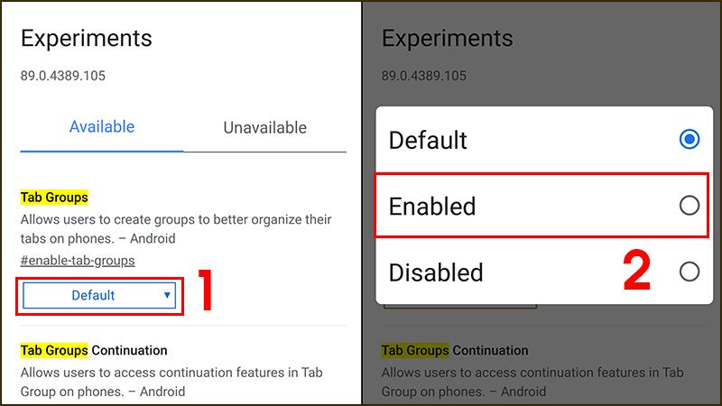 Đổi Default sang Enable để kích hoạt Tab Groups