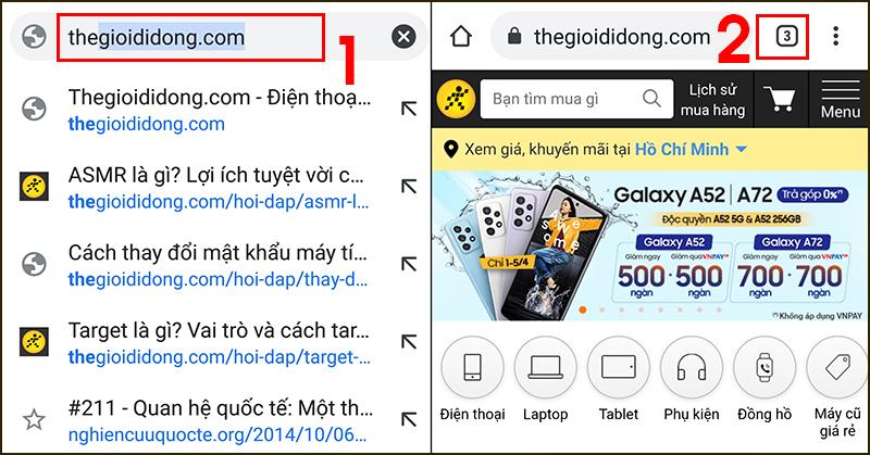 Mở các trang web bạn cần nhóm và nhấn vào biểu tượng số lượng tab mở