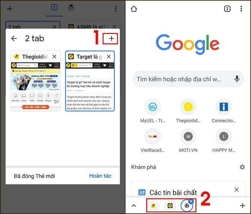 Bấm vào biểu tượng dấu + để thêm tab mới