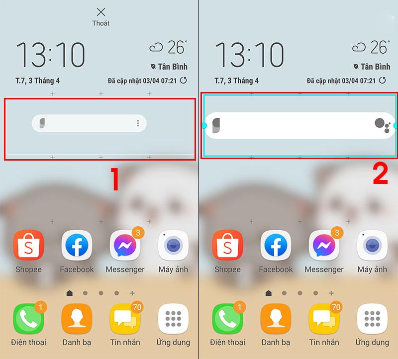 Tạo Widget trên màn hình điện thoại