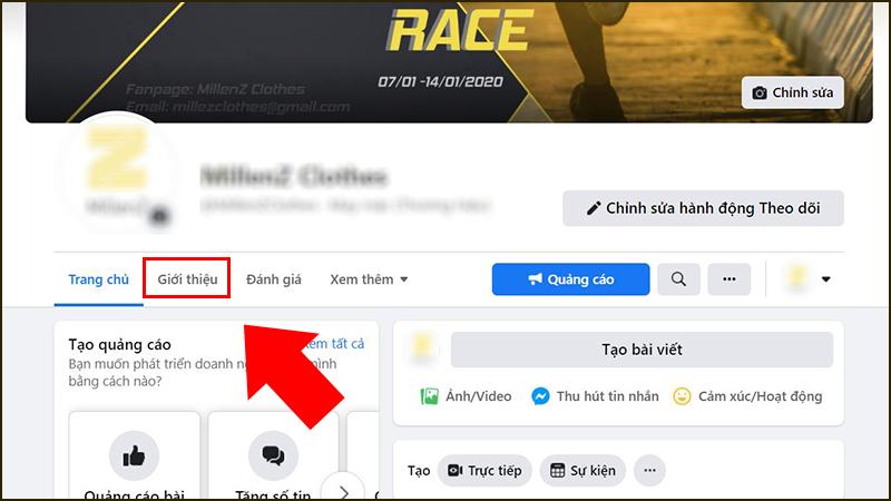 Tìm đến mục Giới thiệu của Fanpage của bạn