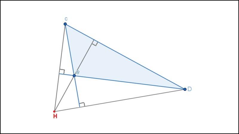 Trực tâm tam giác tù nằm ở miền ngoài tam giác đó