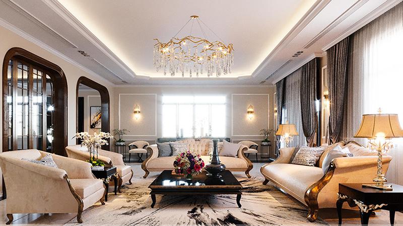 Phòng khách theo phong cách luxury