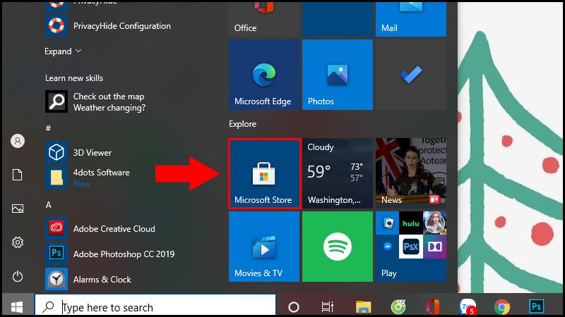 Mở Microsoft Store