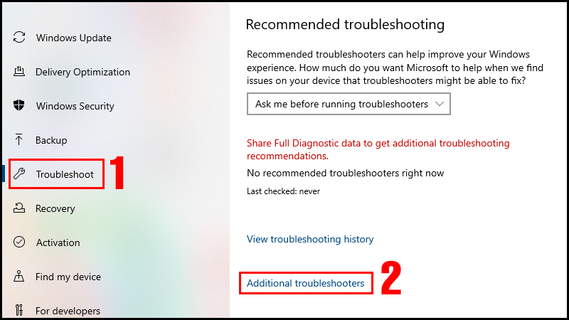 Chọn Additional troubleshooters