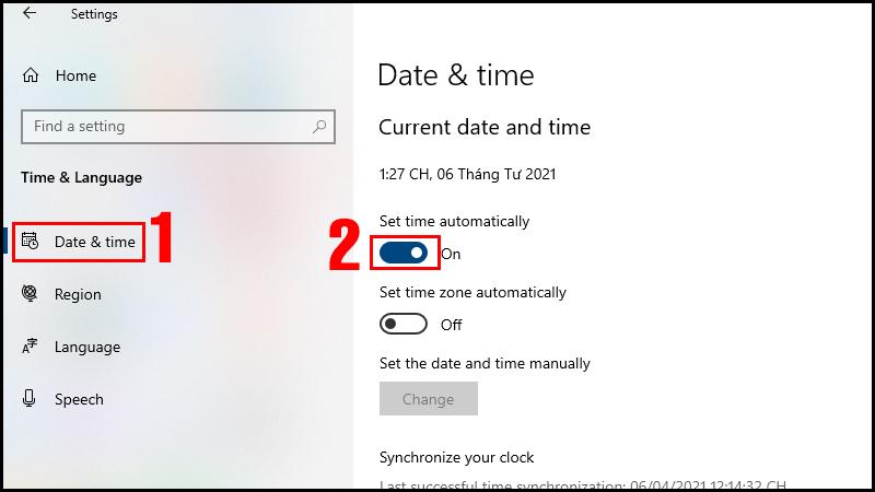 Mở thanh điều lệnh ở mục Set time automatically