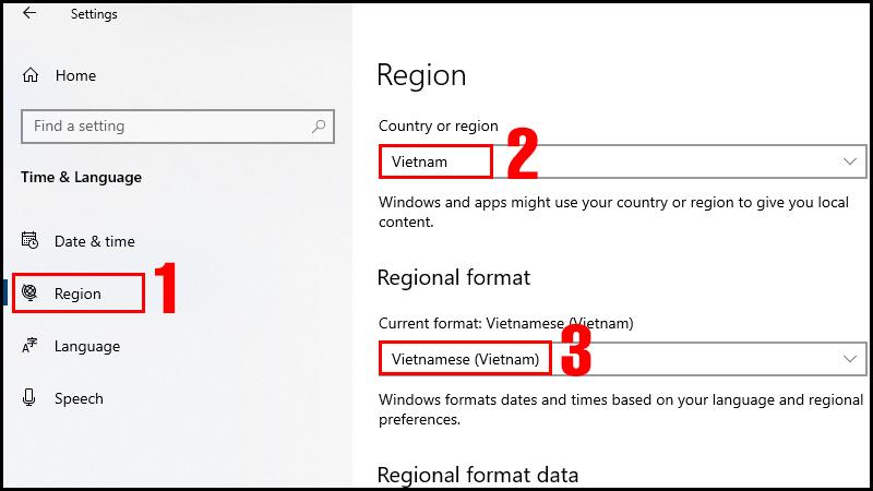 Thay đổi khu vực thành Vietnam