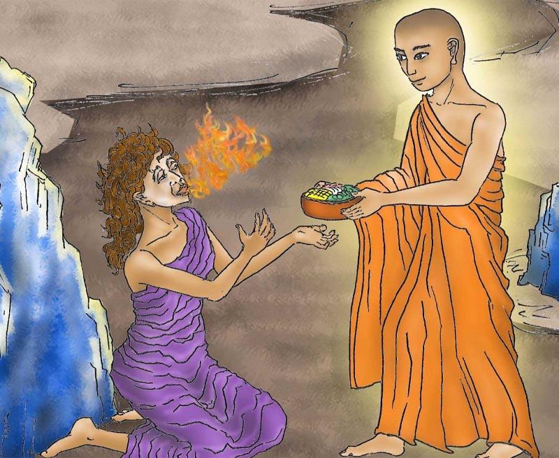 Đại Đức Mục Kiền Liên hóa phép thành thức ăn cho mẹ nhưng đều biến thành lửa đỏ