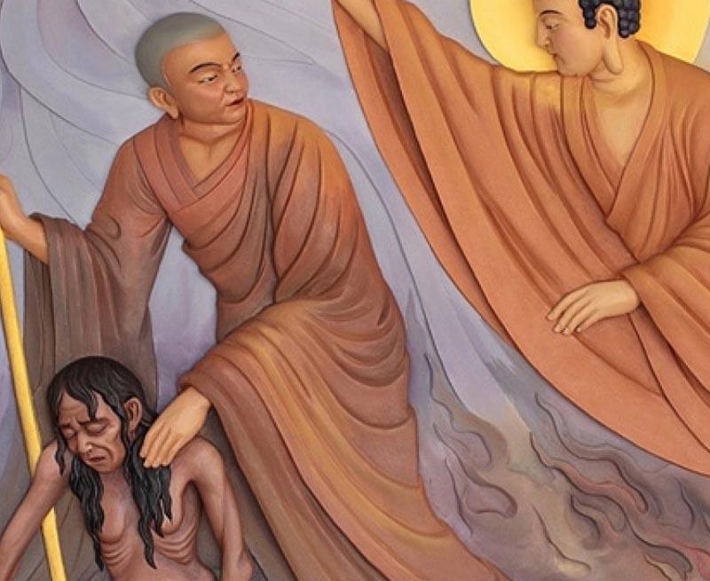 Quá đau lòng khi thấy mje bị hành hạ, Đại Đức Mục Kiền Liên cầu cứu lên Phật Tổ