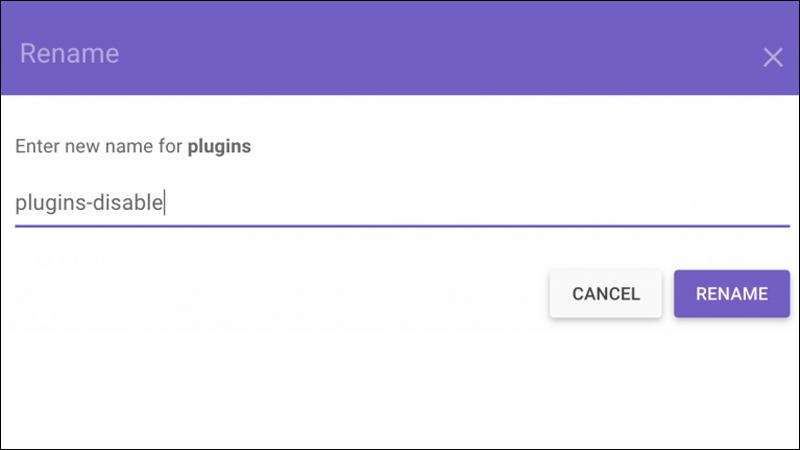 Đổi tên thư mục plugins để vô hiệu toàn bộ plugins trong thời gian ngắn