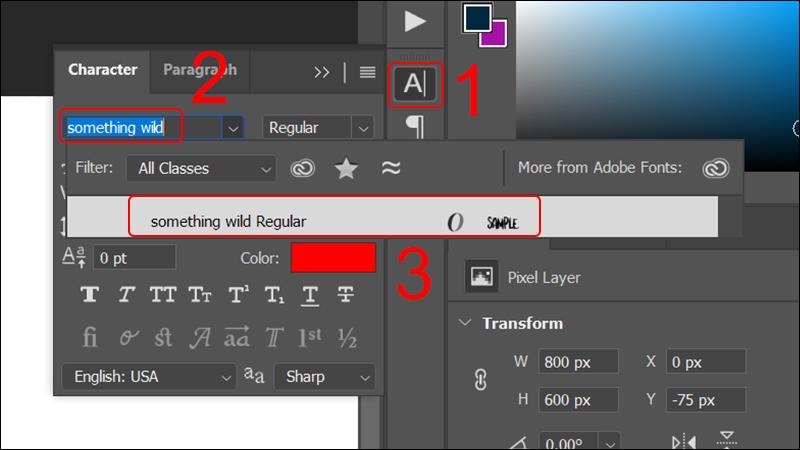 Ví dụ tìm font chữ Something Wild Font trong Photoshop sau khi cài đặt