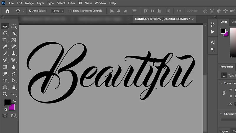 Ví dụ sử dụng font Bandung trong Photoshop