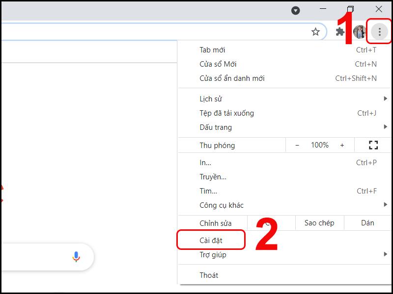 Truy cập vào mục cài đặt trên Google Chrome