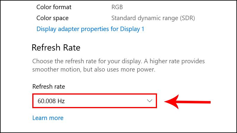 Điều chỉnh số liệu Refresh Rate về khoảng 60 - 75Hz