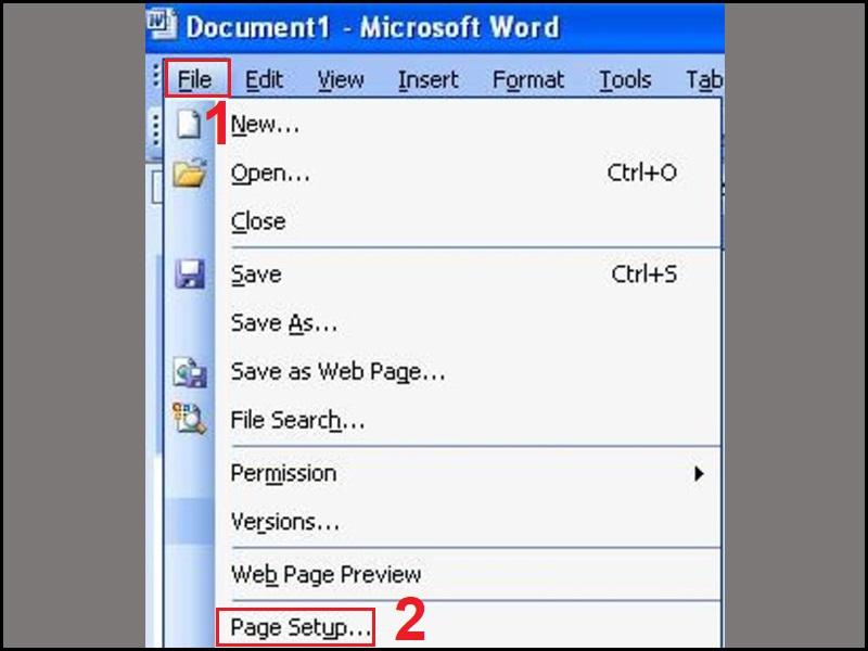 Mở Page Setup trong mục File
