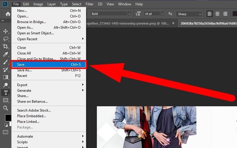 Chọn Save trong File để lưu file thiết kế