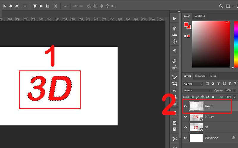 Nhấn giữ Ctrl và click chuột vào layer 3D copy
