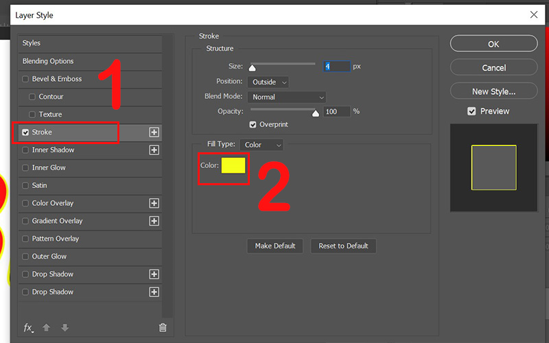 Tích và nhấn vào mục Stroke và chọn Color