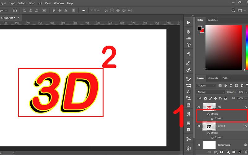 Đổ viền cho layer 3D