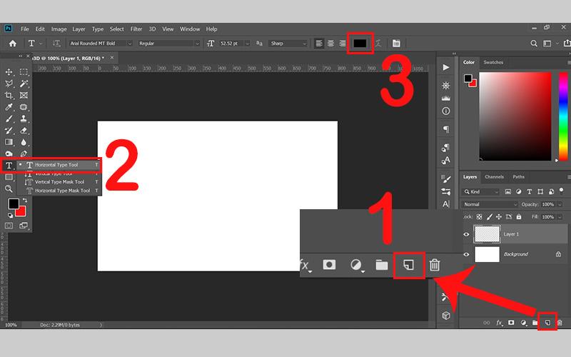 Tạo layer mới và nhấn Horizontal Type Tool (T)