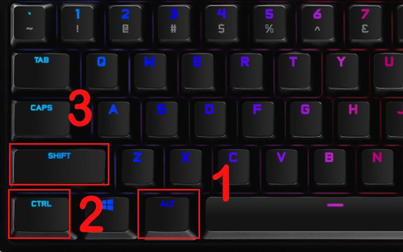 Nhấn giữ đồng thời tổ hợp Alt + Ctrl + Shift