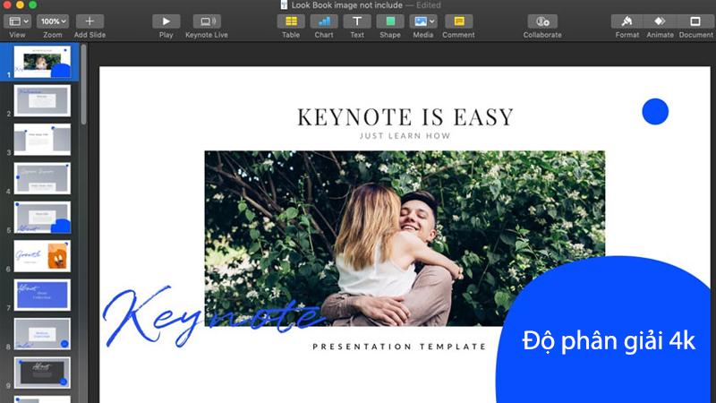 Hình ảnh hiển thị trên Keynote