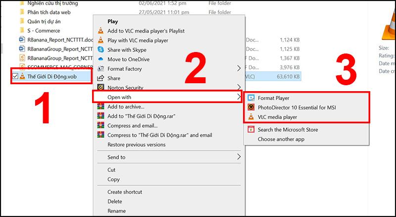 Cách mở file VOB trên máy tính