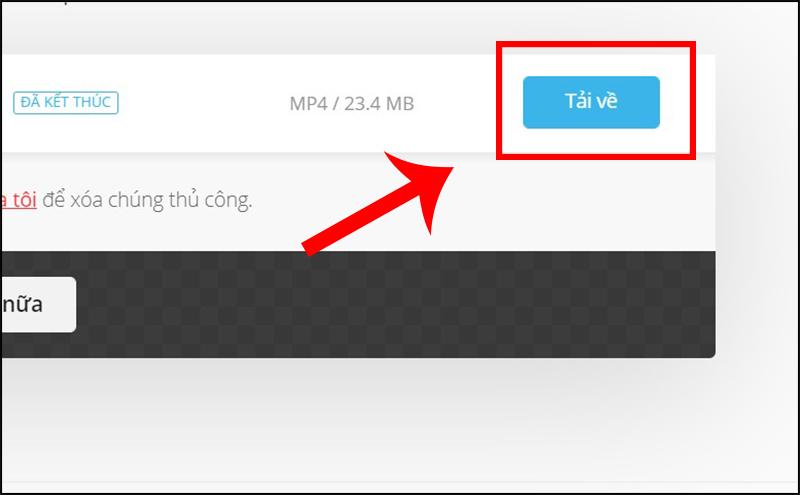 Sau khi chuyển đổi, nhấn vào Tải về để lưu file về máy