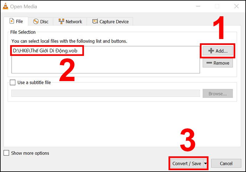 Thêm file và chọn nút Convert/Save