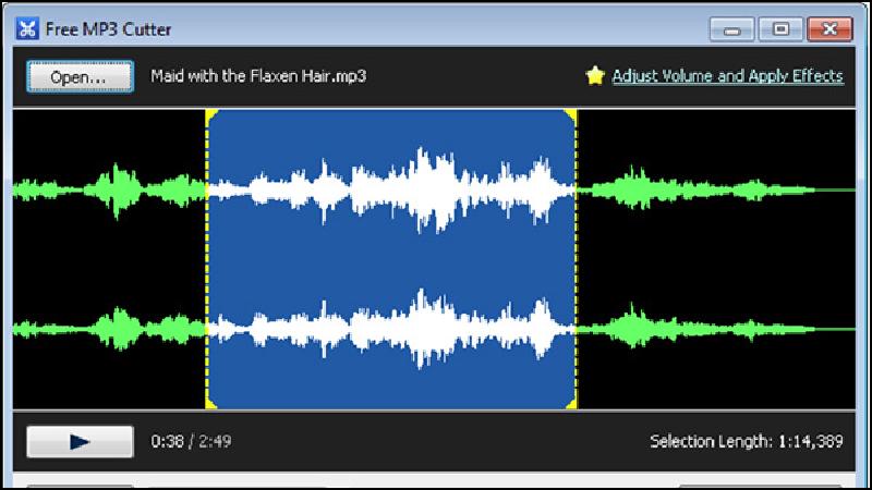 Free MP3 Cutter có nhiều hiệu ứng âm thanh đặc biệt tạo ra sản phẩm thu hút hơn