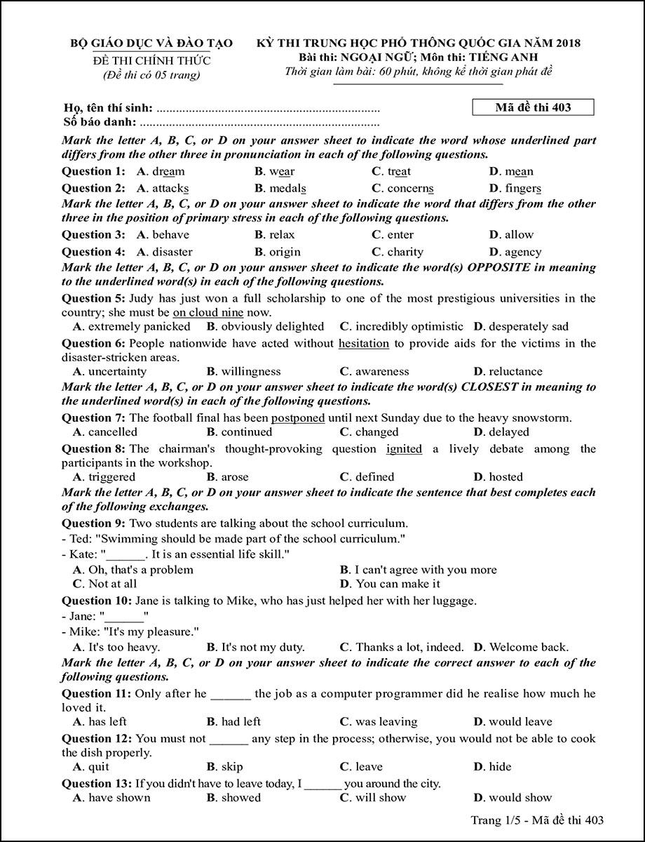 Mã đề 403 - Trang 1