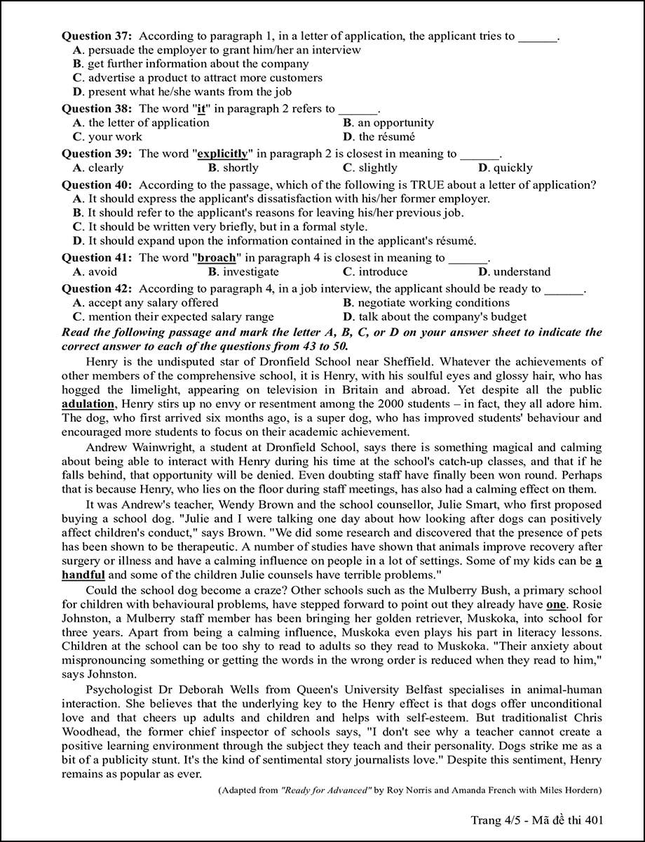 Mã đề 401 - Trang 4