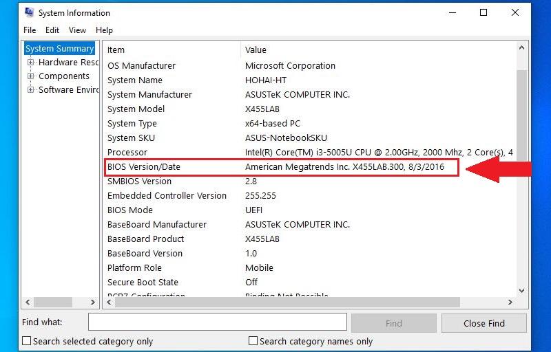 Kiểm tra BIOS Version/Date