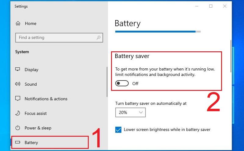 Tắt chế độ Battery Saver