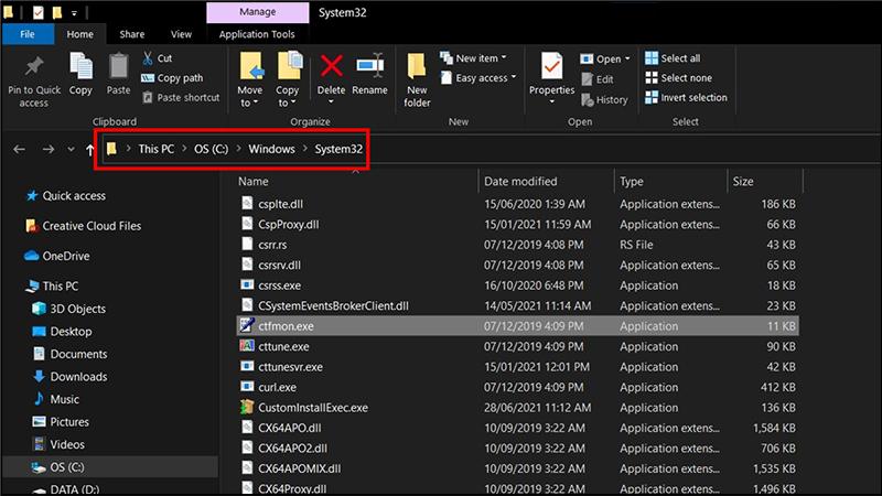 Thư mục hiện ra nằm trong System32